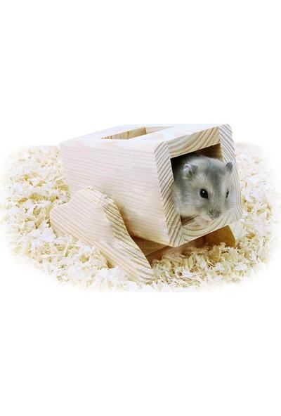 Carno Hamster Oyuncağı Naturel Ahşap Kutulu Tahterevalli 11 x 8,5 x 8,5 Cm
