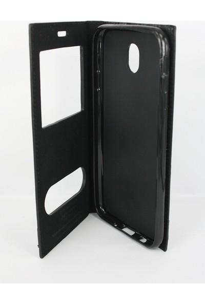 Case 4U Samsung Galaxy J730 Pro Kapaklı Kılıf Siyah