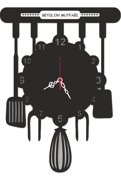 Ahşap Şehri Özel Tasarım Mutfak Saati (Siyah)