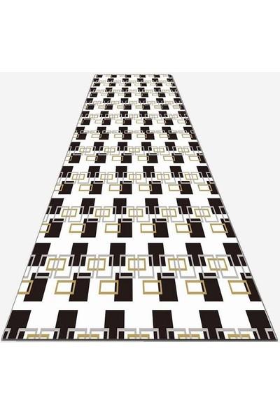 Else Kadser Siyah Kutular Kutular Karo 3D Dekoratif Yolluk Halı