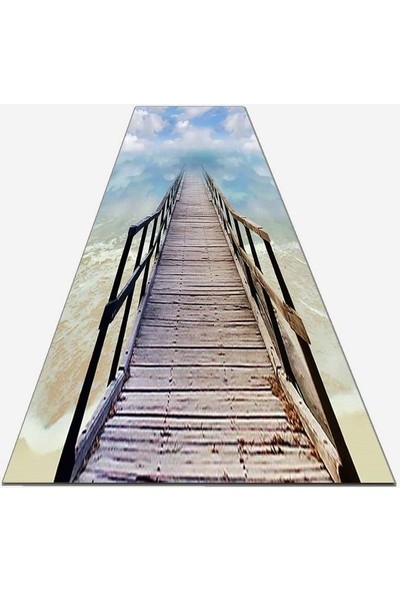 Else Kadser Tahta Köprü Köprü 3D Dekoratif Yolluk Halı