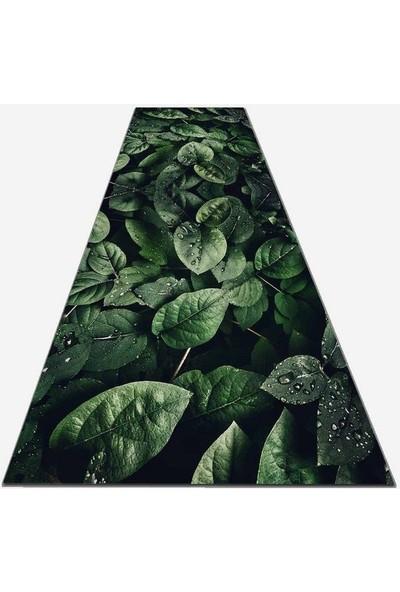 Else Kadser Yeşil Yapraklar 3D Yolluk Halı