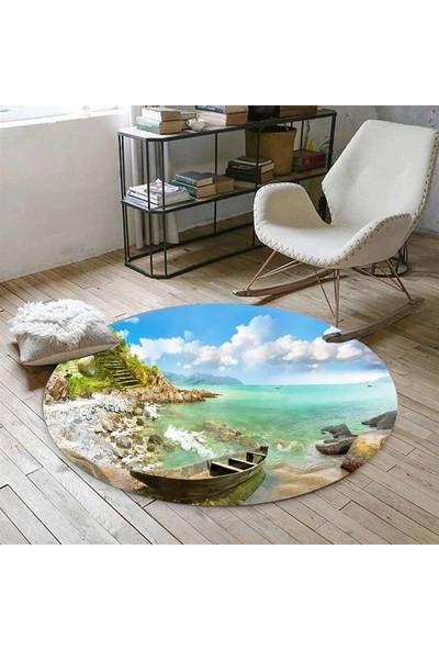 Else Kadser Sandal Sahil Deniz 3D Yuvarlak Halı - 150x150 cm
