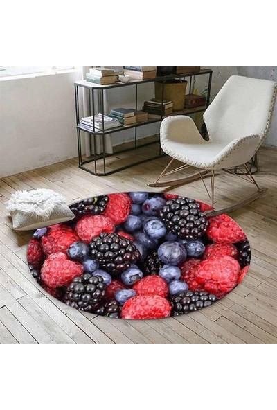 Else Kadser Kırmızı Siyah Böğürtlenli 3D Yuvarlak Halı - 150x150 cm