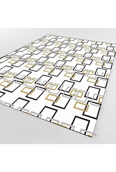 Else Kadser Beyaz Sarı Geometrik Baskılı Dekoratif Halı