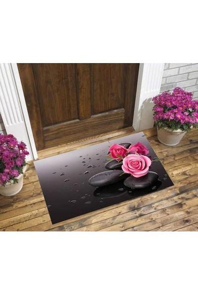 Else 4006 Gül Desenli Kapı Önü Paspası - 45x75 cm