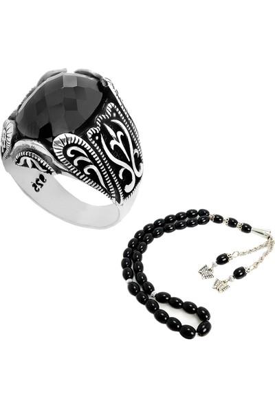 Chavin Osmanlı Siyah Taşlı Gümüş Yüzük ve Tesbih set01