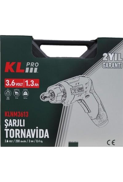 KLPRO KLNM3613 3.6Volt /1,3Ah Li-ion Şarjlı Tornavida + 45 Parça Vidalama ucu