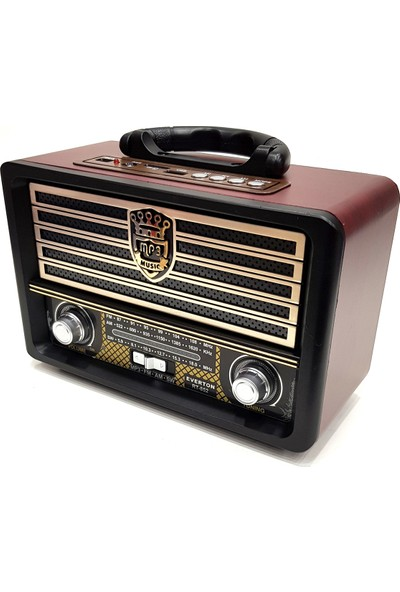 Everton Nostaljik Antika Bluetooth Şarjlı Radyo Mp3 Müzik Çalar Usb Bt Aux Tf Rt852
