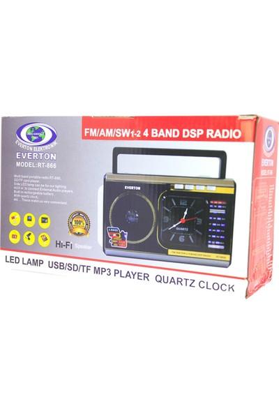 Everton Şarjlı Saatli Radyo Mp3 Müzik Çalar Işıldak Usb Sd Rt866