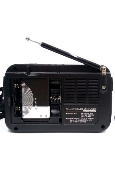 Everton Şarjlı Nostaljik Retro Küçük Mini Radyo Müzik Mp3 Çalar Usb Tf Vt3077