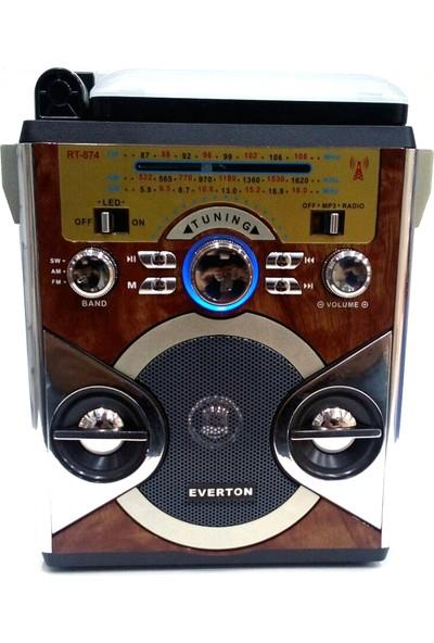 Everton Şarjlı Radyo Mp3 Müzik Çalar Işıldak Usb Tf Sd Aux Rt874