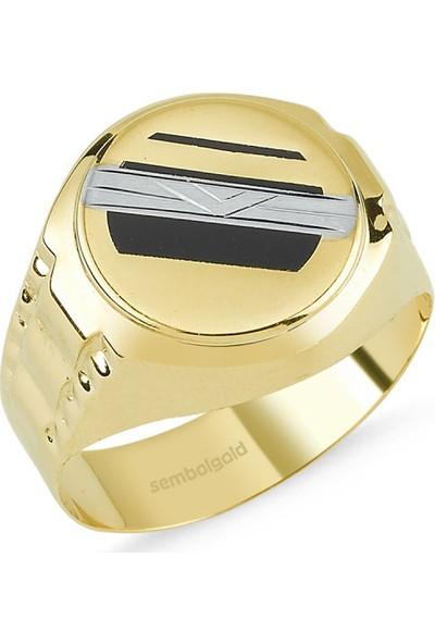 Sembolgold Altın Erkek Yüzük Siyah Mineli Sg-42-Ad0032