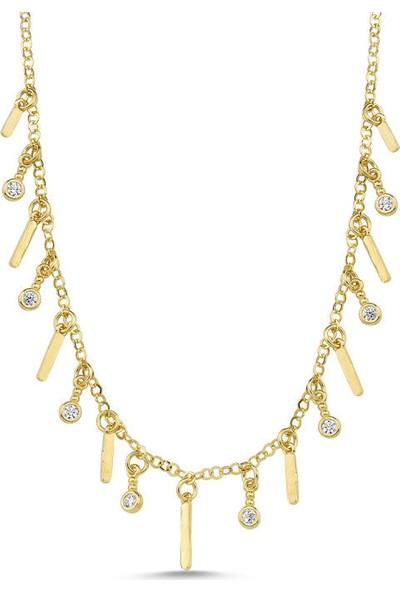Sembolgold Altın Plaka Sarkık Kolye 60 Cm Özel Tasarım Pll-7256