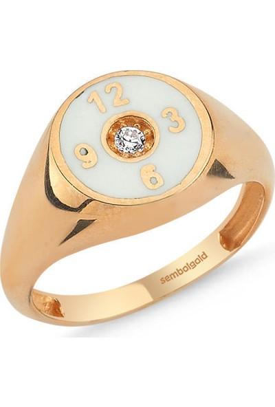 Sembolgold Altın Şovalye Yüzük Rose Mineli Saat Tasarım Md-436
