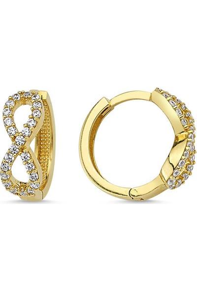 Sembolgold Altın Küpe Sonsuzluk Halka Tasarım Kpbz-9048