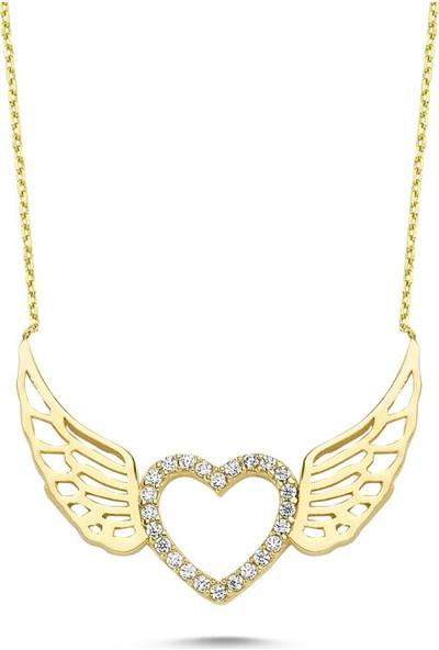 Sembolgold Altın Melek Kolye Kalp'Li Tasarım Klb-0393