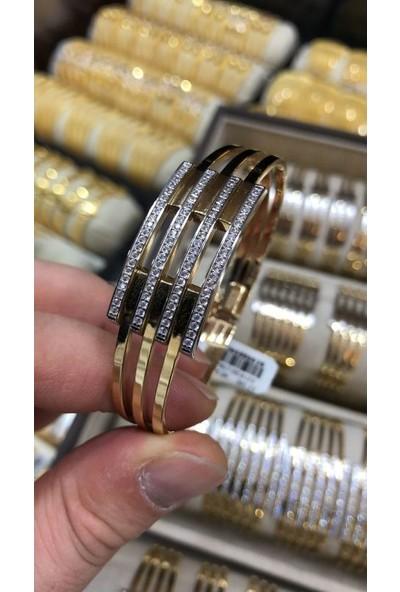 Sembolgold Altın Kaburga Kelepçe 4 Sıra Taşlı Klp-651