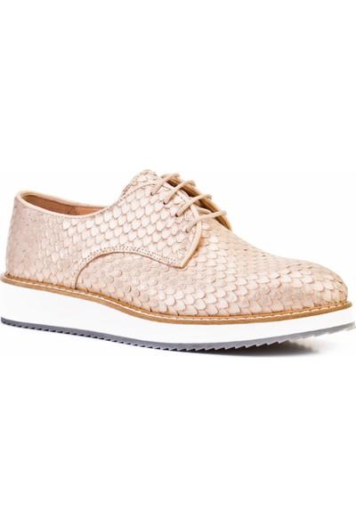 Cabani Bağcıklı Günlük Kadın Ayakkabı Bej Deri