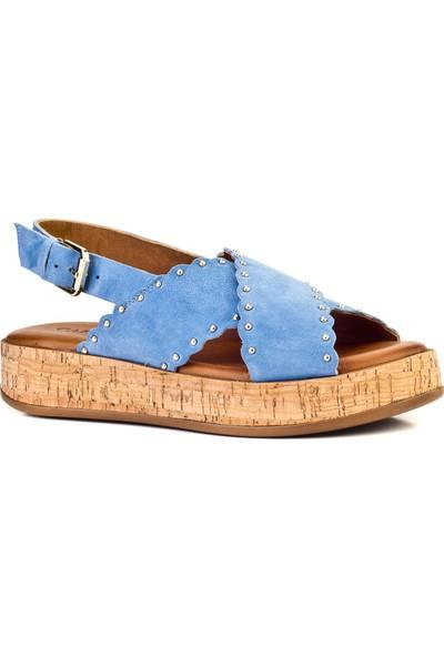 Cabani Çapraz Bantlı Tokalı Günlük Kadın Sandalet Mavi Deri