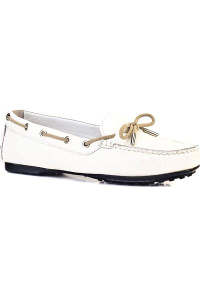 Cabani Fiyonklu Loafer Günlük Kadın Ayakkabı Beyaz Floter Deri