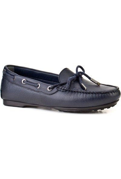 Cabani Fiyonklu Loafer Günlük Kadın Ayakkabı Lacivert Deri