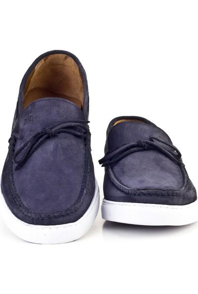 Cabani Fiyonklu Sneaker Erkek Ayakkabı Lacivert Nubuk
