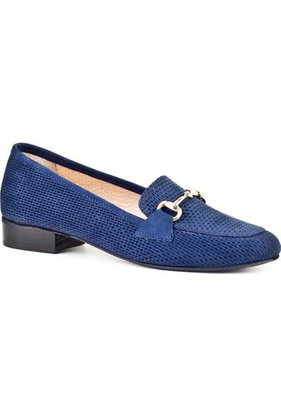 Cabani Lazerli Tokalı Loafer Günlük Kadın Ayakkabı Lacivert Nubuk