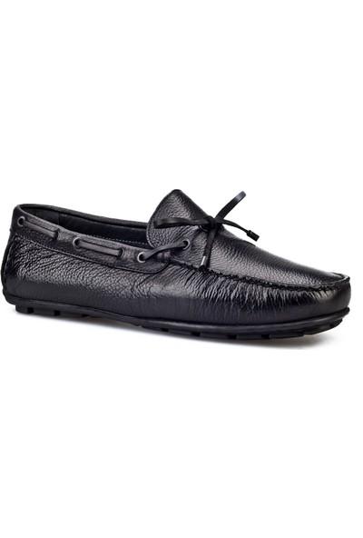 Cabani Loafer Günlük Erkek Ayakkabı Siyah Naturel Floter Deri