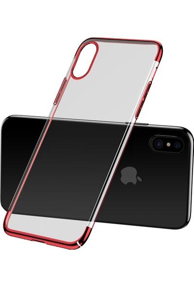 Baseus iPhone X Glitter Serisi Şeffaf Sert Arka Kapak Kırmızı + Ekran Koruyucu