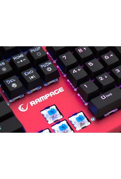 Rampage KB-R19 Manly Kırmızı USB RGB Aydınlatmalı Q Mekanik Oyuncu Klavye