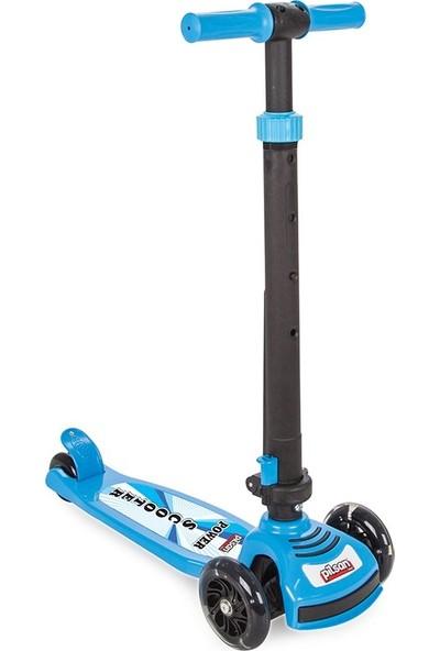 Pilsan Power Scooter - Mavi Renk - Led Işıklı - 3 Tekerlekli Yükseklik Ayarlı Ve Katlanabilir