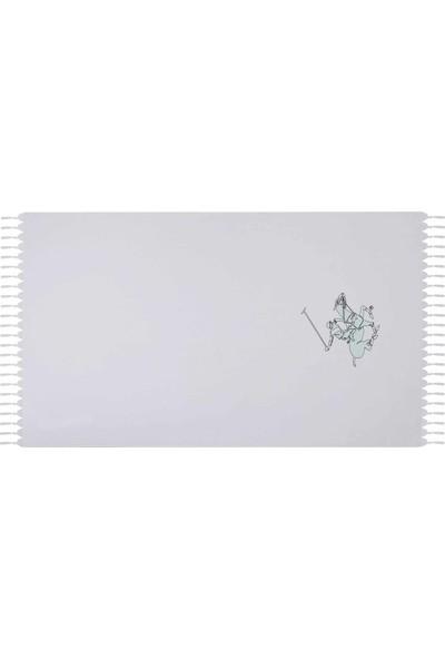 Eponj Home Polo Plaj Havlusu Saçaklı 90 x 170 Mint Logo Baskılı Beyaz