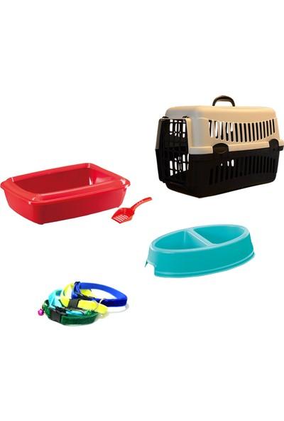 Petfony Açık Kedi Tuvaleti, Kedi Taşıma Çantası, Mama Kabı ve Kedi Tasması