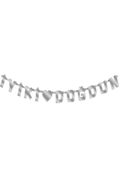 Tahtakale Toptancısı Karton Uzar Duvar Yazısı İyiki Doğdun KALPLİ Altın/Gümüş