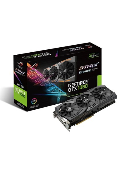 Asus ROG STRIX Nvidia GeForce GTX 1080 8GB 256Bit GDRR5 (DX12) PCI-E 3.0 Ekran Kartı (STRIX-GTX1080-8G- Gaming)