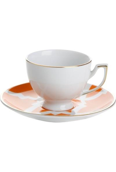 Porland Morocco Tabaklı Çay Fincanı Desen3 Turuncu 170cc