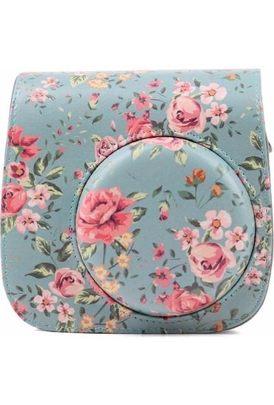 Fujifilm İnstax Mini 8 9 Çanta Mavi Çiçek Desenli