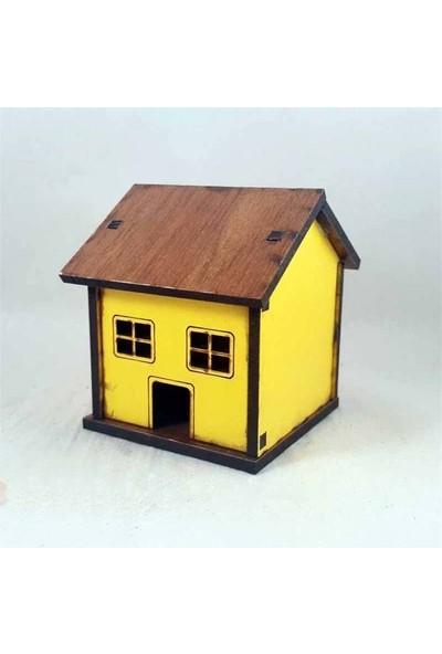 E-fidancim Minyatür Ahşap Sarı Ev Teraryum İçin