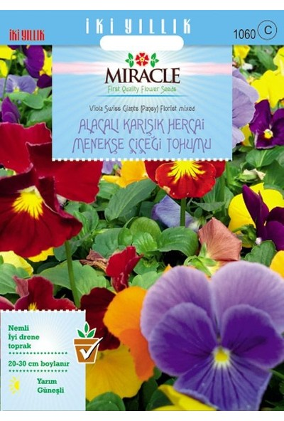 Miracle Tohum Miracle Swiss Giant Alacalı Karışık Hercai Menekşe Çiçeği (300 tohum)