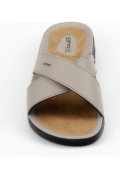 Ceyo 9877 Bej Erkek Terlik Ayakkabı