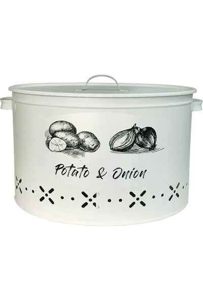 Evstyle Metal Bölmeli Patates Soğan Saklama Kabı Mat Beyaz