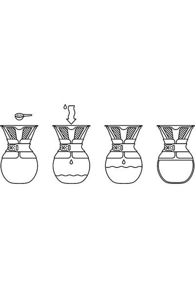 Bodum Pour Over 8 Cup Double Wall Ve Metal Filtre