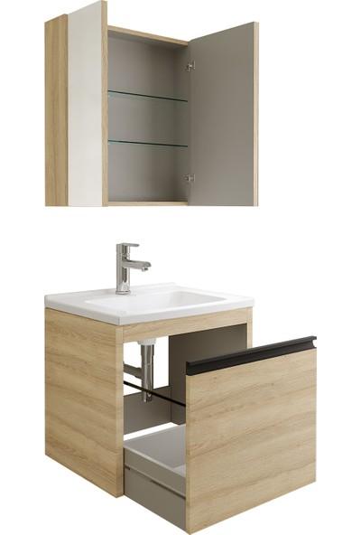 Kale Banyo Vista Banyo Dolabı Seti 80 cm Koyu Meşe