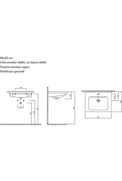 Kale Banyo Vale 65X50Cm Lavabo Delikli
