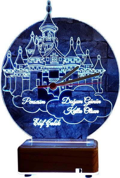 Vipyol Prenseslere Özel İsimli Hediyesi Şato Gece Lambası İsimli Saat 16 Renkli Lamba