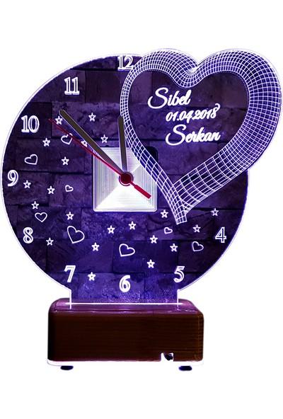 Vipyol Kişiye Özel Lamba Sevgili Hediyesi Saatli Gece Lambası 16 Renkli Kişiye Özel Hediyeler Masa Lambası