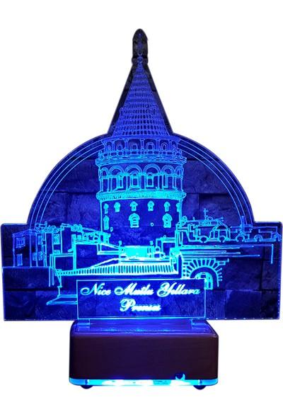Vipyol Sevgiliye Hediyeler Galata Kulesi Gece Lambası 16 Renkli İsimli Kişiye Özel Saatli Masa Lambası