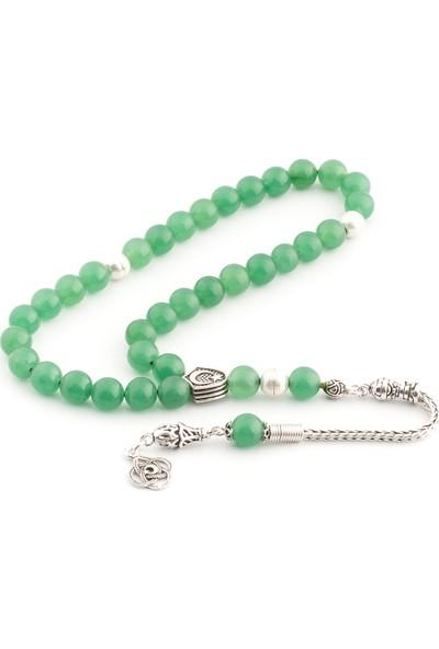 Saray Çarşısı Tüm Aparatları 925 Ayar Gümüş Yeşil Akik Taşı Tesbih T0301083