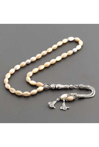 Saray Çarşısı Tüm Aparatları 925 Ayar Gümüş Sedef Tesbih T0321009